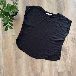 LOFT Black Cuffed Short Sleeve Crewneck Blouse